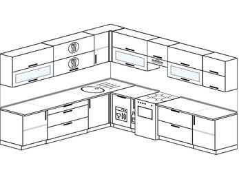 Планировка угловой кухни 11,1 м², 270 на 310 см (зеркальный проект): верхние модули 72 см, посудомоечная машина, корзина-бутылочница, отдельно стоящая плита
