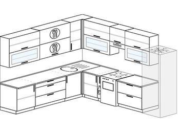 Планировка угловой кухни 11,1 м², 270 на 310 см (зеркальный проект): верхние модули 92 см, корзина-бутылочница, отдельно стоящая плита, холодильник