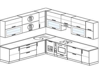 Планировка угловой кухни 11,1 м², 270 на 310 см (зеркальный проект): верхние модули 92 см, посудомоечная машина, корзина-бутылочница, встроенный духовой шкаф