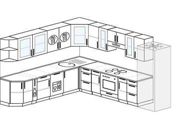 Планировка угловой кухни 11,1 м², 270 на 310 см (зеркальный проект): верхние модули 72 см, корзина-бутылочница, посудомоечная машина, встроенный духовой шкаф, холодильник