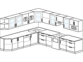 Планировка угловой кухни 11,1 м², 270 на 310 см (зеркальный проект): верхние модули 72 см, отдельно стоящая плита, модуль под свч