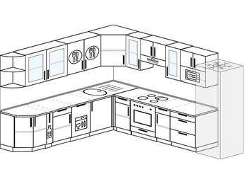 Планировка угловой кухни 11,1 м², 270 на 310 см (зеркальный проект): верхние модули 72 см, корзина-бутылочница, посудомоечная машина, встроенный духовой шкаф, холодильник, модуль под свч