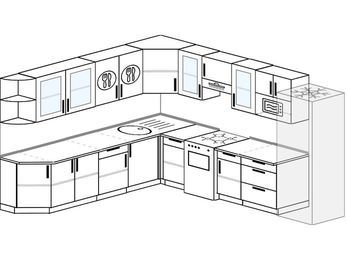 Планировка угловой кухни 11,1 м², 270 на 310 см (зеркальный проект): верхние модули 72 см, отдельно стоящая плита, холодильник, модуль под свч