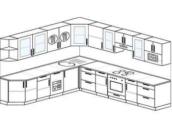 Планировка угловой кухни 11,1 м², 270 на 310 см (зеркальный проект): верхние модули 72 см, посудомоечная машина, встроенный духовой шкаф, модуль под свч