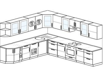 Планировка угловой кухни 11,1 м², 2700 на 3100 мм (зеркальный проект): верхние модули 720 мм, корзина-бутылочница, посудомоечная машина, встроенный духовой шкаф
