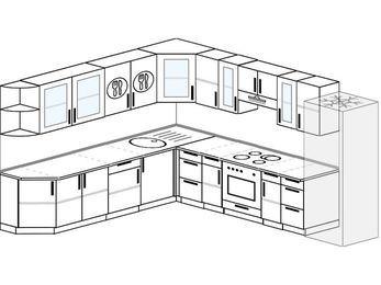 Планировка угловой кухни 11,1 м², 270 на 310 см (зеркальный проект): верхние модули 72 см, встроенный духовой шкаф, холодильник