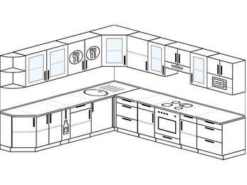 Планировка угловой кухни 11,1 м², 270 на 310 см (зеркальный проект): верхние модули 72 см, корзина-бутылочница, встроенный духовой шкаф, модуль под свч