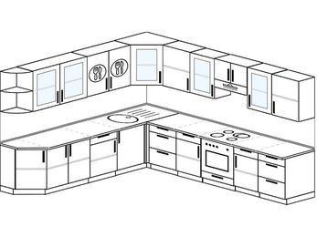 Планировка угловой кухни 11,1 м², 270 на 310 см (зеркальный проект): верхние модули 72 см, встроенный духовой шкаф