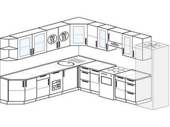 Планировка угловой кухни 11,1 м², 270 на 310 см (зеркальный проект): верхние модули 72 см, посудомоечная машина, отдельно стоящая плита, холодильник