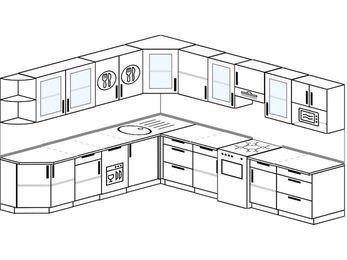 Планировка угловой кухни 11,1 м², 270 на 310 см (зеркальный проект): верхние модули 72 см, посудомоечная машина, отдельно стоящая плита, модуль под свч