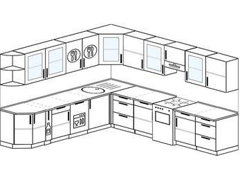 Планировка угловой кухни 11,1 м², 270 на 310 см (зеркальный проект): верхние модули 72 см, корзина-бутылочница, посудомоечная машина, отдельно стоящая плита