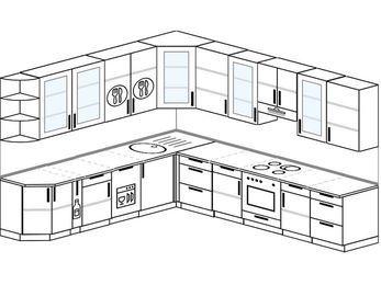 Планировка угловой кухни 11,1 м², 270 на 310 см (зеркальный проект): верхние модули 92 см, корзина-бутылочница, посудомоечная машина, встроенный духовой шкаф