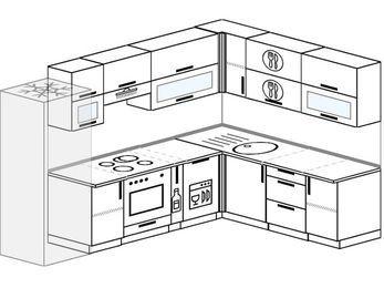 Планировка угловой кухни 8,1 м², 280 на 200 см: верхние модули 72 см, холодильник, встроенный духовой шкаф, корзина-бутылочница, посудомоечная машина