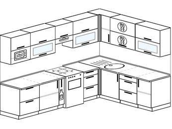 Планировка угловой кухни 8,1 м², 280 на 200 см: верхние модули 72 см, корзина-бутылочница, отдельно стоящая плита, модуль под свч