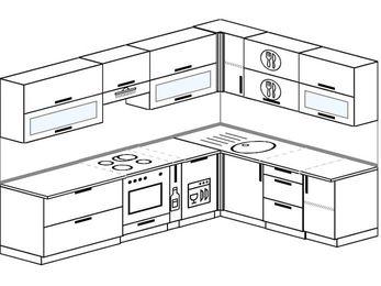 Планировка угловой кухни 8,1 м², 280 на 200 см: верхние модули 72 см, встроенный духовой шкаф, корзина-бутылочница, посудомоечная машина