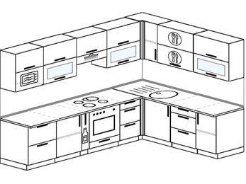Планировка угловой кухни 8,1 м², 280 на 200 см: верхние модули 72 см, корзина-бутылочница, встроенный духовой шкаф, модуль под свч