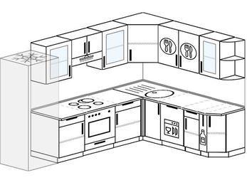 Планировка угловой кухни 8,1 м², 280 на 200 см: верхние модули 72 см, холодильник, встроенный духовой шкаф, посудомоечная машина, корзина-бутылочница