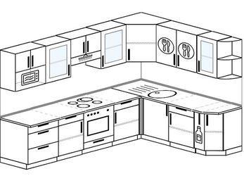Планировка угловой кухни 8,1 м², 280 на 200 см: верхние модули 72 см, встроенный духовой шкаф, корзина-бутылочница, модуль под свч