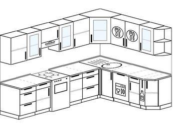 Планировка угловой кухни 8,1 м², 280 на 200 см: верхние модули 72 см, отдельно стоящая плита, посудомоечная машина, корзина-бутылочница