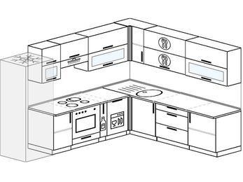 Планировка угловой кухни 9,2 м², 280 на 240 см: верхние модули 72 см, холодильник, встроенный духовой шкаф, корзина-бутылочница, посудомоечная машина