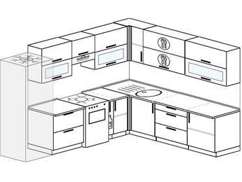 Планировка угловой кухни 9,2 м², 280 на 240 см: верхние модули 72 см, холодильник, отдельно стоящая плита, корзина-бутылочница