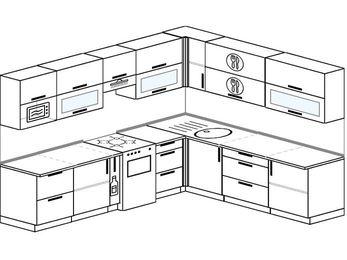 Планировка угловой кухни 9,2 м², 280 на 240 см: верхние модули 72 см, корзина-бутылочница, отдельно стоящая плита, модуль под свч