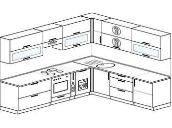 Планировка угловой кухни 9,2 м², 280 на 240 см: верхние модули 72 см, встроенный духовой шкаф, корзина-бутылочница, посудомоечная машина