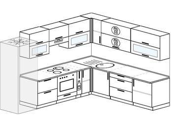 Планировка угловой кухни 9,2 м², 280 на 240 см: верхние модули 72 см, холодильник, встроенный духовой шкаф, корзина-бутылочница