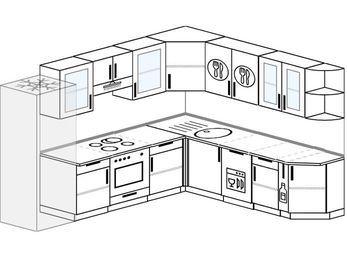 Планировка угловой кухни 9,2 м², 280 на 240 см: верхние модули 72 см, холодильник, встроенный духовой шкаф, посудомоечная машина, корзина-бутылочница