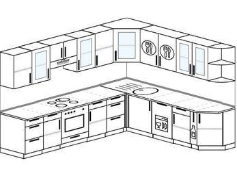 Планировка угловой кухни 9,2 м², 280 на 240 см: верхние модули 72 см, встроенный духовой шкаф, посудомоечная машина, корзина-бутылочница