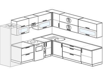 Планировка угловой кухни 10,0 м², 280 на 270 см: верхние модули 72 см, холодильник, отдельно стоящая плита, корзина-бутылочница