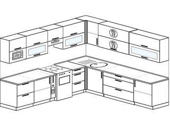 Планировка угловой кухни 10,0 м², 280 на 270 см: верхние модули 72 см, корзина-бутылочница, отдельно стоящая плита, модуль под свч