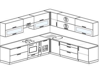 Планировка угловой кухни 10,0 м², 280 на 270 см: верхние модули 72 см, встроенный духовой шкаф, корзина-бутылочница, посудомоечная машина