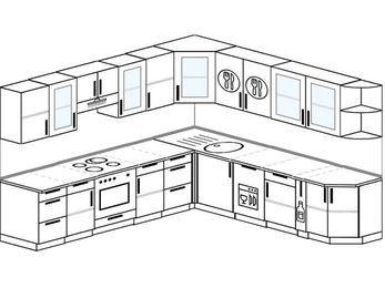 Планировка угловой кухни 10,0 м², 280 на 270 см: верхние модули 72 см, встроенный духовой шкаф, посудомоечная машина, корзина-бутылочница