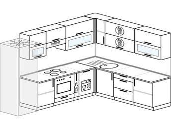 Планировка угловой кухни 9,2 м², 2900 на 2300 мм: верхние модули 720 мм, холодильник, встроенный духовой шкаф, корзина-бутылочница, посудомоечная машина