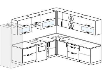 Планировка угловой кухни 9,2 м², 290 на 230 см: верхние модули 72 см, холодильник, отдельно стоящая плита, корзина-бутылочница