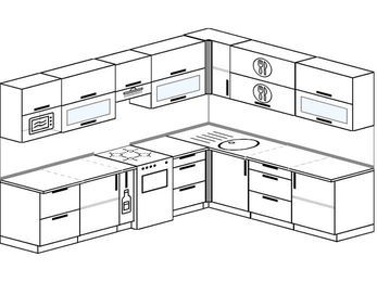 Планировка угловой кухни 9,2 м², 2900 на 2300 мм: верхние модули 720 мм, корзина-бутылочница, отдельно стоящая плита, модуль под свч