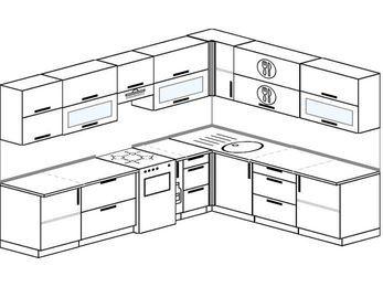 Планировка угловой кухни 9,2 м², 290 на 230 см: верхние модули 72 см, отдельно стоящая плита, корзина-бутылочница