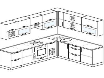 Планировка угловой кухни 9,2 м², 290 на 230 см: верхние модули 72 см, корзина-бутылочница, встроенный духовой шкаф, посудомоечная машина, модуль под свч