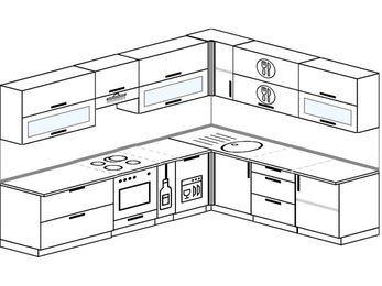 Планировка угловой кухни 9,2 м², 2900 на 2300 мм: верхние модули 720 мм, встроенный духовой шкаф, корзина-бутылочница, посудомоечная машина