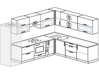 Планировка угловой кухни 9,2 м², 2900 на 2300 мм: верхние модули 720 мм, холодильник, встроенный духовой шкаф, корзина-бутылочница