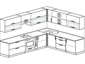 Планировка угловой кухни 9,2 м², 290 на 230 см: верхние модули 72 см, встроенный духовой шкаф, корзина-бутылочница