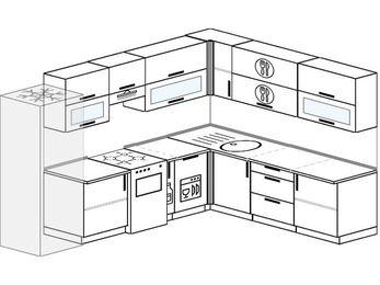 Планировка угловой кухни 9,2 м², 2900 на 2300 мм: верхние модули 720 мм, холодильник, отдельно стоящая плита, корзина-бутылочница, посудомоечная машина