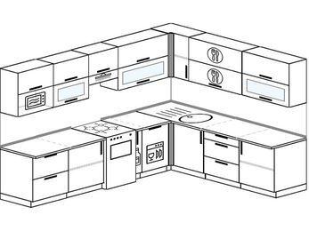 Планировка угловой кухни 9,2 м², 290 на 230 см: верхние модули 72 см, отдельно стоящая плита, корзина-бутылочница, посудомоечная машина, модуль под свч