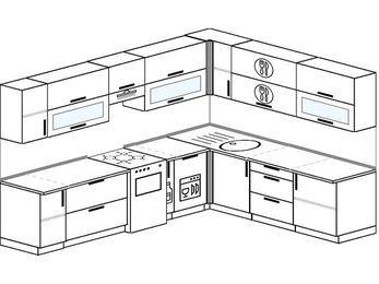 Планировка угловой кухни 9,2 м², 2900 на 2300 мм: верхние модули 720 мм, отдельно стоящая плита, корзина-бутылочница, посудомоечная машина