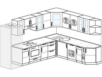 Планировка угловой кухни 9,2 м², 2900 на 2300 мм: верхние модули 720 мм, холодильник, встроенный духовой шкаф, посудомоечная машина, корзина-бутылочница