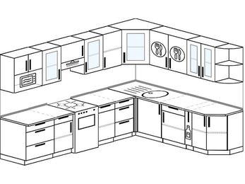 Планировка угловой кухни 9,2 м², 2900 на 2300 мм: верхние модули 720 мм, отдельно стоящая плита, корзина-бутылочница, модуль под свч