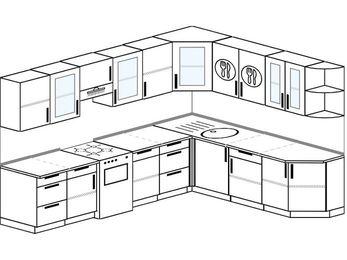Планировка угловой кухни 9,2 м², 290 на 230 см: верхние модули 72 см, отдельно стоящая плита