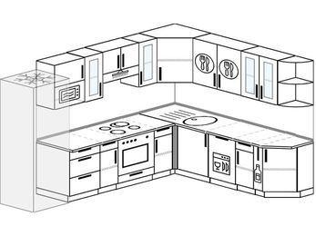 Планировка угловой кухни 9,2 м², 290 на 230 см: верхние модули 72 см, холодильник, встроенный духовой шкаф, посудомоечная машина, корзина-бутылочница, модуль под свч