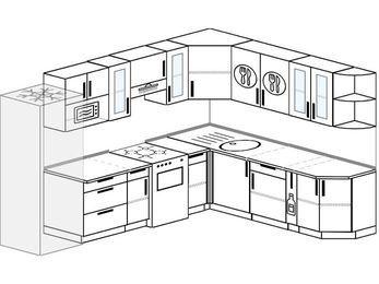 Планировка угловой кухни 9,2 м², 290 на 230 см: верхние модули 72 см, холодильник, отдельно стоящая плита, корзина-бутылочница, модуль под свч
